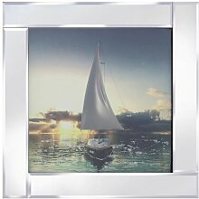 Gerahmtes Glasbild Ein Segelboot Longshore Tides