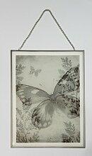Gerahmtes Glasbild Schmetterling Sommerallee