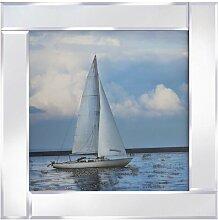 Gerahmtes Glasbild Segelboot vor Anker Longshore