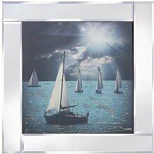 Gerahmtes Glasbild Segelboote Longshore Tides
