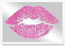Gerahmtes Glasbild Solid Kiss Pink Glitter-Custom