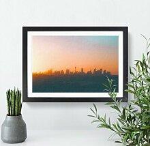 Gerahmtes Holzbild Skyline von Sydney in Australien