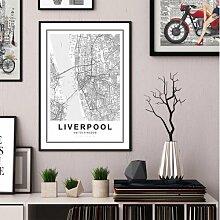 Gerahmtes Holzbild Stadtplan Liverpool East Urban