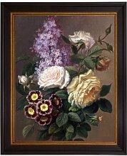 Gerahmtes Leinwandbild Blumenstrauß mit Flieder &