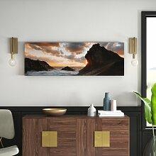 Gerahmtes Leinwandbild Sonnenaufgang mit Wellen in