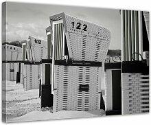 Gerahmtes Leinwandbild Strandkörbe, Fotodruck
