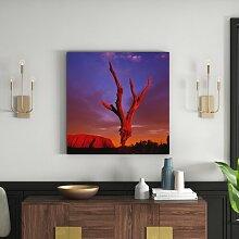 Gerahmtes Leinwandbild Uluru bei Sonnenaufgang,