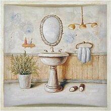Gerahmtes Leinwandbild Waschbecken in Beige/Gelb