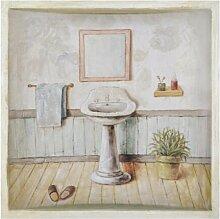 Gerahmtes Leinwandbild Waschbecken in Beige Lily