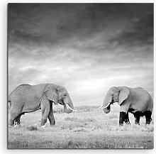 Gerahmtes Leinwandbild Zwei Elefanten in der
