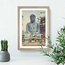 Gerahmtes MDF-Bild Bronze Buddha at Kamakura von