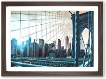 Gerahmtes MDF-Bild Brooklyn Bridge and New York