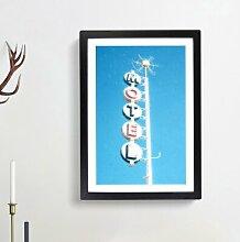 "Gerahmtes MDF-Bild - Grafikdruck ""Retro Motel"