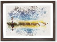 Gerahmtes MDF-Bild Leuchtturm und Meereslandschaft
