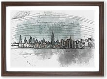 Gerahmtes MDF-Bild New York City View in Abstract
