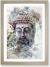 Gerahmtes MDF-Bild Peaceful Buddha in Abstract