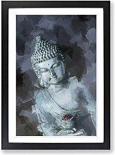 Gerahmtes MDF-Bild Smoke Surrounding the Buddha in