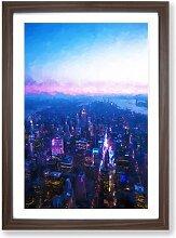Gerahmtes MDF-Bild Sunset in Manhattan New York in