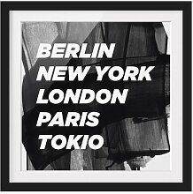 Gerahmtes Papierbild Berlin New York London East