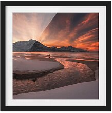 Gerahmtes Papierbild Goldener Sonnenuntergang East