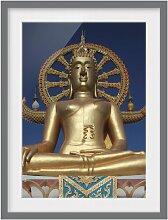 Gerahmtes Papierbild Großer Goldener Buddha East