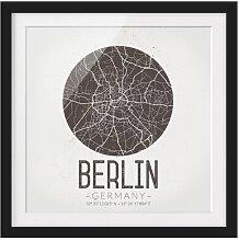 Gerahmtes Papierbild Stadtplan Berlin - Retro East