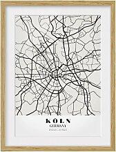 Gerahmtes Papierbild Stadtplan Köln - Klassik