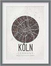 Gerahmtes Papierbild Stadtplan Köln - Retro East