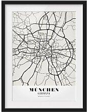 Gerahmtes Papierbild Stadtplan München - Klassik