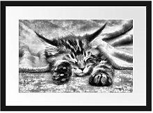 Gerahmtes Poster Baby-Katze, Rote Bettdecke East