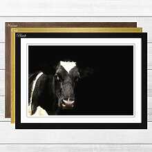 """Gerahmtes Poster """"Black and White Cow"""","""