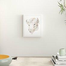 Gerahmtes Poster Buffalo Head Animal in