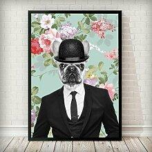 Gerahmtes Poster Bulldog Dude - Vintage Animal in