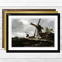 "Gerahmtes Poster ""Landscape with Windmills"""