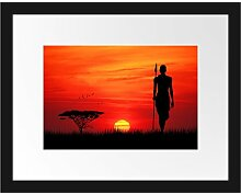 Gerahmtes Poster Roter Sonnenuntergang in Afrika