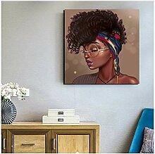 Gerahmtes schwarzes Mädchen-Gemälde auf