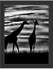 Gerahmtes Wandbild Afrika GiraffenSonnenuntergang
