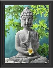 Gerahmtes Wandbild Buddha auf Steinen mit Monoi