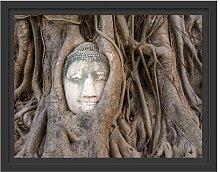 Gerahmtes Wandbild Buddha KopfBaum East Urban Home