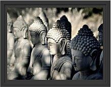 Gerahmtes Wandbild Buddha-Statuen in einer Reihe