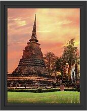 Gerahmtes Wandbild Buddha TempelSonnenuntergang