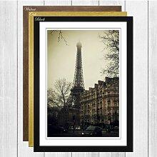 Gerahmtes Wandbild Eiffelturm mit Nebel, Fotodruck