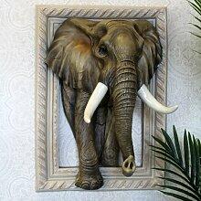 Gerahmtes Wandbild Elefant in 3D Bloomsbury Market
