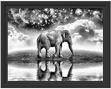 Gerahmtes Wandbild Elefant, Wiese, Himmel, Afrika