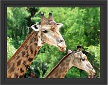 Gerahmtes Wandbild Giraffen East Urban Home