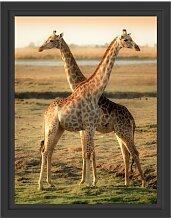 Gerahmtes Wandbild Giraffen Paar East Urban Home