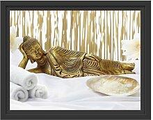 Gerahmtes Wandbild goldener Buddha auf Handtuch