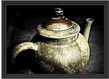 Gerahmtes Wandbild klassische Teekanne aus Keramik