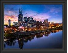 Gerahmtes Wandbild Nashville Skyline Panorama East