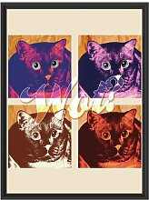Gerahmtes Wandbild Pop-art cat East Urban Home